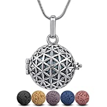 "Lava Stone Diffuser Necklace Aromatherapy Essential Oil Infuser Locket Flower of Life Design Pendant and 6PCS Multi-Colored Rock Beads with 24"" Silver Plated Snake Chain Scent Jewelry"