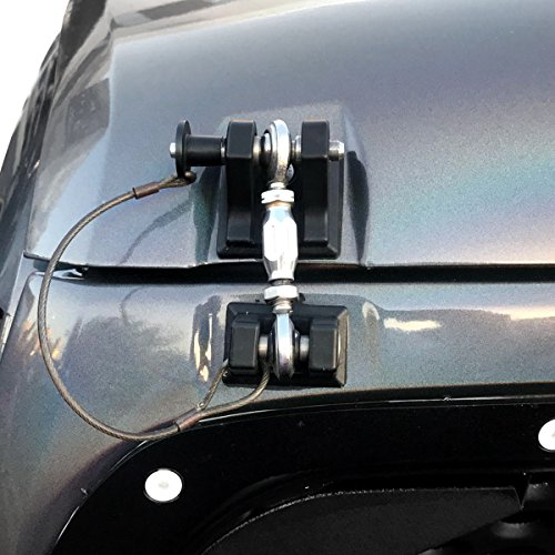 ICARS 2007-2018 Jeep Wrangler JK JKU Hood Latches Hood Lock Hood Catch Without Key, Retro Style, Stainless Steel, Black - Pair by ICARS (Image #9)