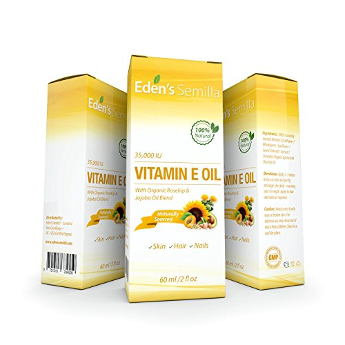 100% Natural Vitamin E Oil 35,000 IU + Organic Rosehip & Jojoba Blend - 2 OZ Bottle. FAST Absorbing Skin Protection For Face & Body. Pure Ingredients - Ideal For Sensitive Skin - Use Daily