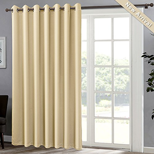 GIAERD Sliding Door Curtain Drapes- Extra Wide Room Darkening Thermal Window Doorway Curtains, Grommet Top Blackout Valance Draperies for Patio Sliding Glass Door,W100 X L84,Sheer Beige,1 Panel
