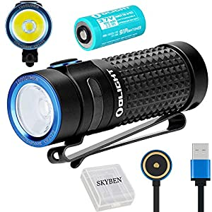 Olight S1R II 1000 Lumens High Performance CW LED Single IMR16340 Powered Upgraded Magnetic USB Rechargeable Side-switch EDC Flashlight with Battery and SKYBEN Battery Case