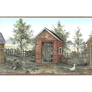 Privy Collection Border HTM48551B country kitchen brown Easy-Walls prepasted