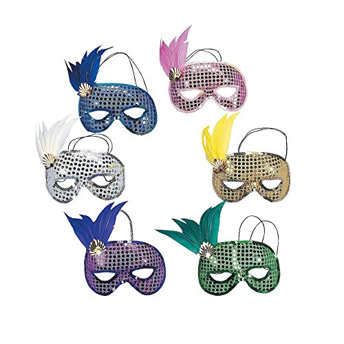 [Dozen Mardi Gras Sequin and Feather Assorted Masks [Toy]] (Blue Mardi Gras Mask)