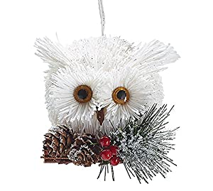 white owl on snow covered branches christmas ornaments holiday ornament gift decor 1