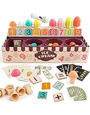 TOP BRIGHT IJskraam Speelset – Rekenen en Logisch denken Spel - Ice Cream Schep Spel Set voor peuters - Educatief rollenspel voor kinderen - IJshoorntjes met Rekenkaarten - Cognitieve Ontwikkeling