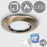 6 x MiniSun Modern Antique Brass Recessed GU10 Ceiling Downlight Fitting - Complete with 6 x 5w GU10 LED Bulb [3000K Warm White]