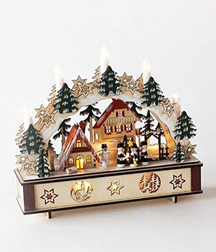 180 Degrees Christmas Village Bavarian Star Base & Tree Arch Wooden Lighted (Bavarian Village)