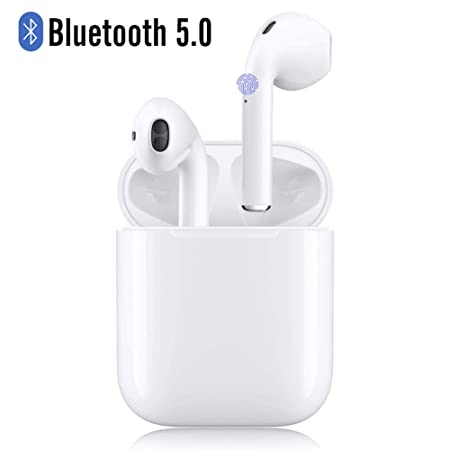Wireless Bluetooth Earbuds, 24Hrs Playtime 12 Hrs Charging Case Auto Pairing Smart Touch Headsets, Noise Canceling, Built-in Mic in-Ear Stereo Headphones for Apple Airpods Android iPhone11