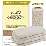 Cheesecloth and Cooking Twine, Grade 90, 100% Unbleached Cotton (4 Yards/ 36 Sq. Feet) Reusable Cheesecloth Straining with 220 Ft Butchers Twine By Kivwi (Grade 90 with cooking twine)