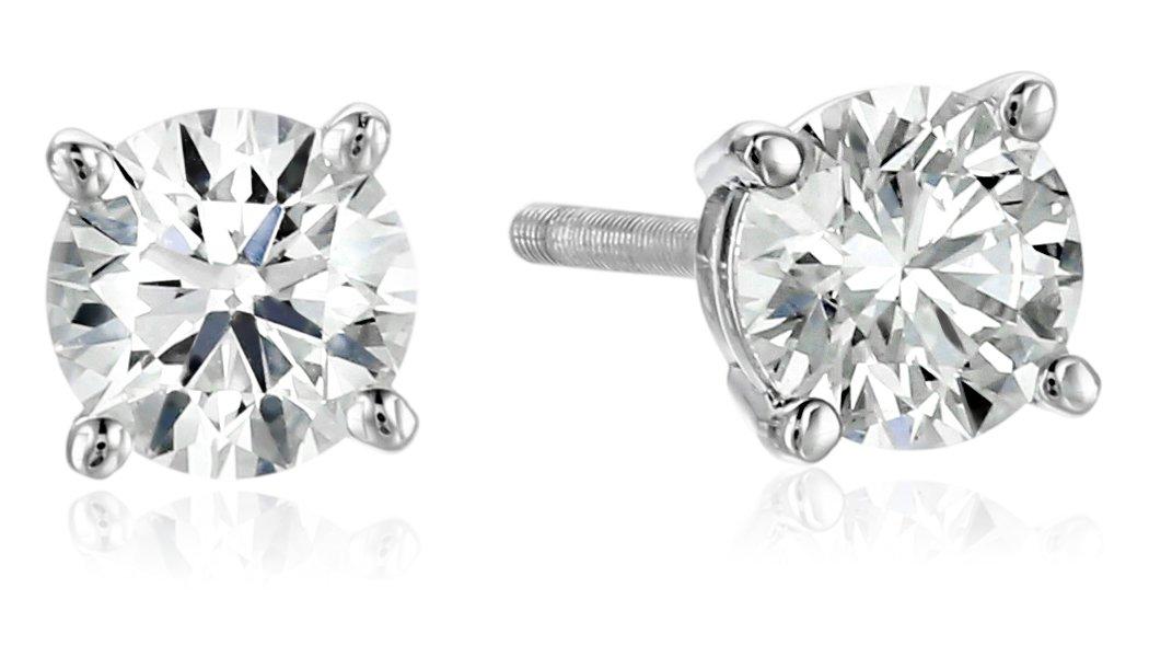 IGI Platinum Round Cut Diamond Stud Earrings (3/4 cttw, G-H Color, VS2 Clarity) by Amazon Collection