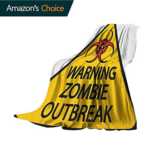 Zombie Weighted Blanket,Warning The Zombie Outbreak Sign Cemetery