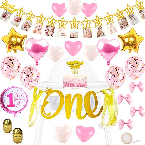 1st Birthday Girl Photo and High Chair Banner Decorations | Gold 1-12 Months Photobanner Garland and Highchair Party Decor Set - Star Cup Cake Toppers, Mylar, Confetti Balloons, Organza Bows