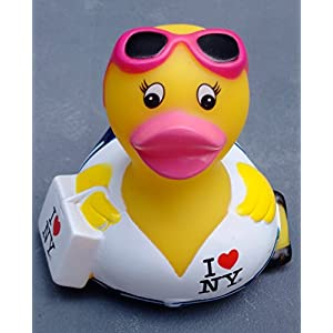 I LOVE HEART NY NEW YORK CHIC RUBBER DUCK OFFICIALLY LICENSED SOUVENIR YELLOW WITH WHITE SHIRT BLUE JEANS AND PINK