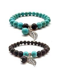 2PCS Lava Stone Turquoise White Howlite Red Agate Beads Bracelet with Leaf Mala Meditation Balance Bracelet