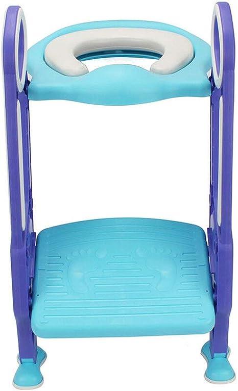 Orinal con escalera para niños y niñas, asiento infantil con asas, asiento acolchado, nivel antideslizante, color azul y lila: Amazon.es: Bebé