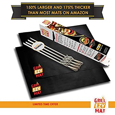 Grill Ezy® Grill Mat - Set Of 2 Grill Mats 20 x16  - 150% Thicker & 64 % Larger Than Most Others - 100% Non-Stick, Heavy Duty - Perfect for BBQ Meat, Vegetables & More