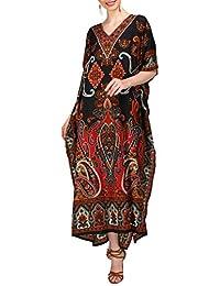 6d6531c0c2bc Miss Lavish London Women Kaftan Tunic Kimono Free Size Long Maxi Party  Dress for Loungewear Holidays