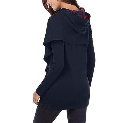 Longra♀ Diseño único Personalizado para Las Mujeres Sudaderas con Capucha a Cuadros de Manga Larga Sudaderas con Capucha asimétrica del Dobladillo: ...