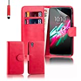 32nd® Book wallet PU leather case cover for Alcatel Idol 3 (5.5 inch) - Red