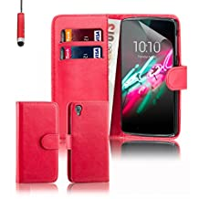 Alcatel Idol 3 Case by 32nd, Book Style PU Leather Wallet Case Cover for Alcatel OneTouch Idol 3 cell phone (5.5 inch version only) - Red