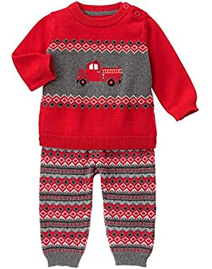 Baby Red Firetruck Sweater Set