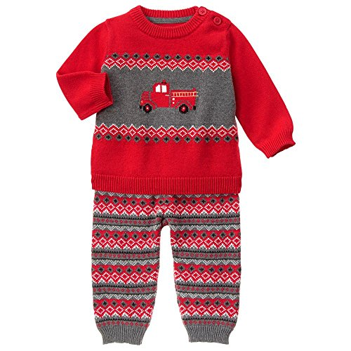 Gymboree Baby Firetruck Sweater Set, Red Zone, 0-3