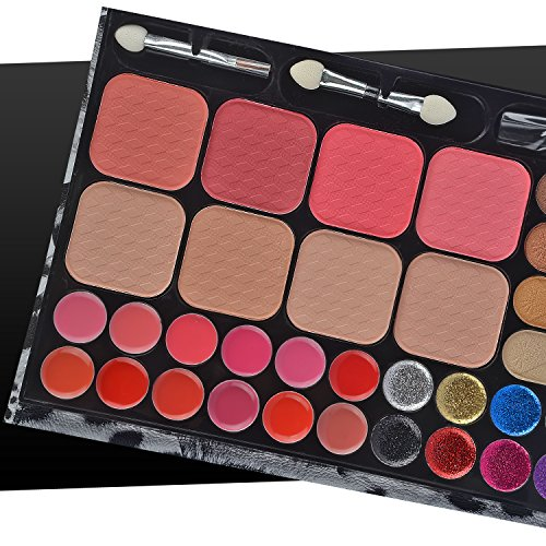 Ecvtop All-in-one Makeup Kit Professional Eye Shadow Palette Lip Gloss Blush Eyebrow Powder,72 Colors
