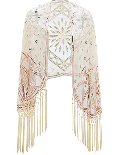Beaded Scarf Pattern - Metme Women's 1920s Scarf Wraps Sequin Deco Fringed Wedding Cape Evening Shawl Vintage Prom