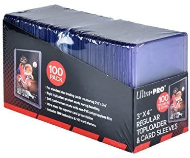 """Ultra PRO 3"""" x 4"""" Toploaders and Clear Sleeves for Collectible Trading Cards (100 ct.)"""