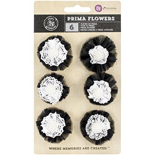 Prima Marketing Still Sarasota Fabric and Paper Flowers, 2-Inch, 6-Pack (Sarasota Fabric)