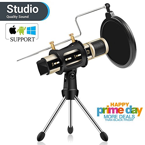 Condenser Microphone, ZealSound Recording & Broadcasting Microphone With Stand Built-in Sound Card Echo Recording Karaoke Singing for iPhone Phone Windows Garageband Smule Live Stream & Youtube (Gold) (Omni Condenser Directional Studio)