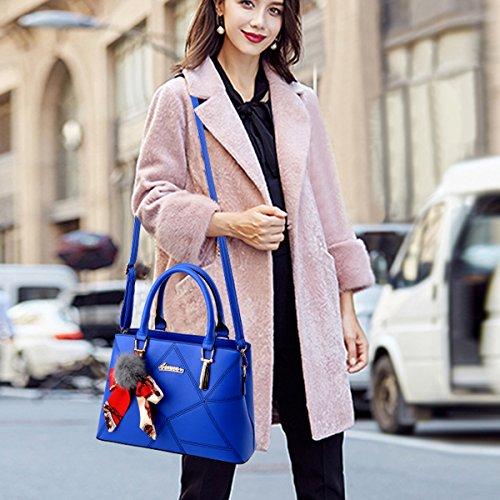 Trabajo De Blue Bolsos Cuero Hombro Bolsas Pu Royal Diario Mujer Bolsa Rosy Top Para La Mango Flada Rosa 7RwxB5