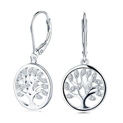 JO WISDOM 925 Sterling Silver Cubic Zirconia Tree of Life Earrings