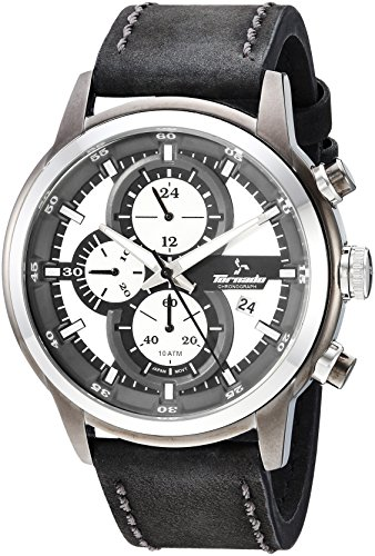 Tornado watch Men's 'Tornado' Quartz Stainless Steel and Leather Casual Watch, Color:Black (Model: T5121-XLBWX)