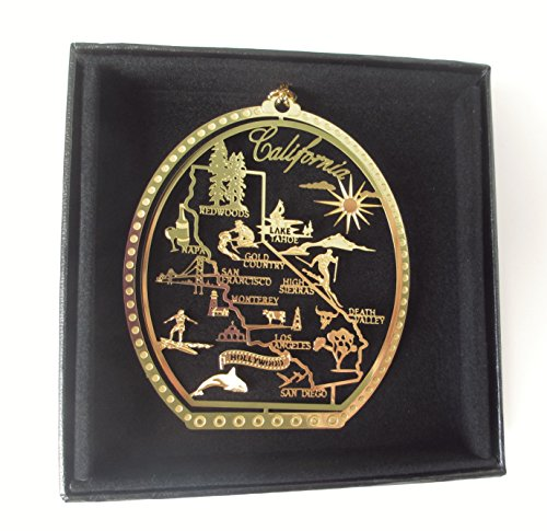 California State Brass Christmas Ornament Black Leatherette Gift Box ()