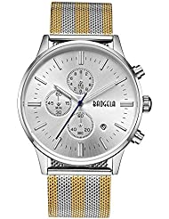 BAOGELA Mens Sliver Dial Military Stainless Steel Chronograph Quartz Wrist Watch colour watchband