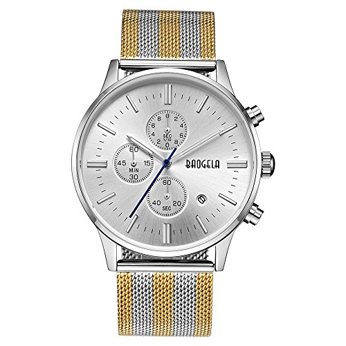 BAOGELA Mens Sliver Dial Military Stainless Steel Chronograph Quartz Wrist Watch Colourful Watchband