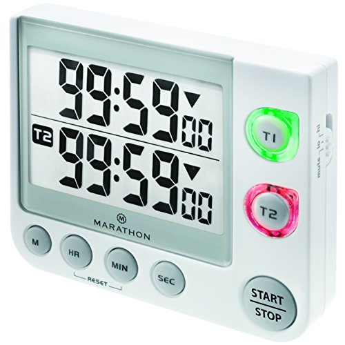 MARATHON TI030017WH Large Display 100 Hour Dual Count UP/Down Timer. Adjustable Volume and Flashing Light Feature. Great for Visually or Hearing Impaired-Battery Included. Color- White