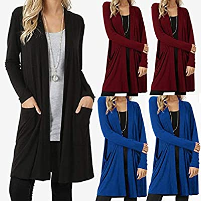 Pervobs Women Shirts, Clearance! Womens Open Front Fly Away Long Sleeve Irregular Pockets Loose Drape Cardigan Sweater from Pervobs