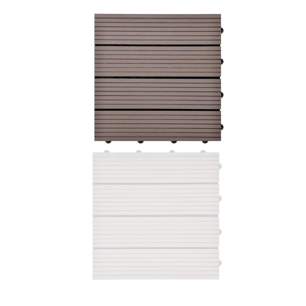 2x300*300 * 22mm Nouveau brun clair SIENOC Sets de dalles de terrasse bois composite WPC Jardin