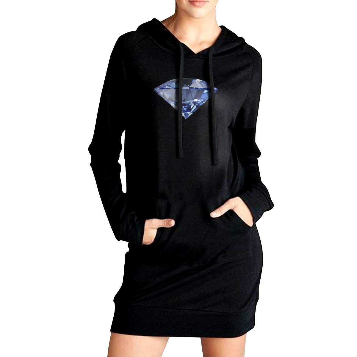 Northern Nebula Diamonds Womens Long Sleeve Hoodie Tunic Dress Solid Pullover Loose Sweatshirt Long Tops
