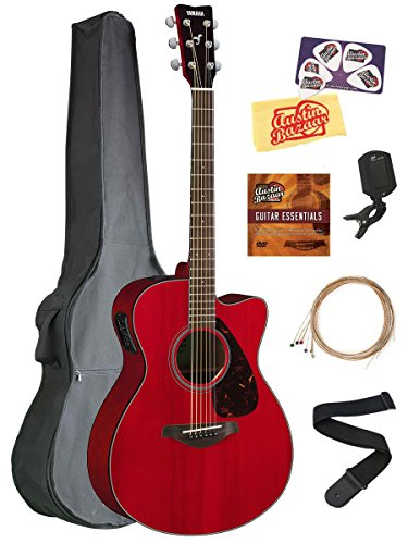 Yamaha FSX800C Small Body Acoustic-Electric Guitar Bundle with Gig Bag, Tuner, Strap, Instructional DVD, Strings, Picks, and Polishing Cloth – Ruby Red