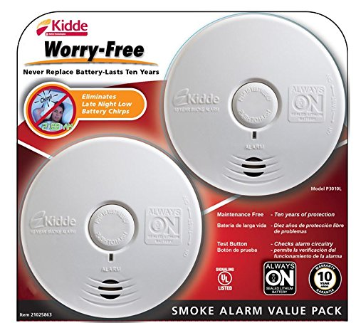 Kidde Worry-Free Smoke Alarm, 2 pk.