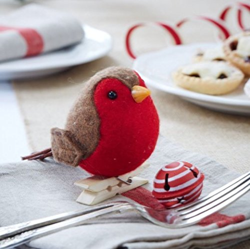 Festive Clip On Feather Robin Bird Christmas Winter Wedding Decoration