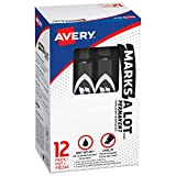 Avery Marks-A-Lot Regular Sized  Permanent Marker, Chisel Tip, Pack of 12 Black Markers (07888)