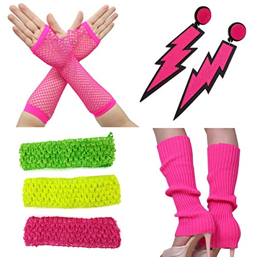 * NEW * Women's 80s Party Neon Colors Fancy Outfit Costume Accessory Set - adults size