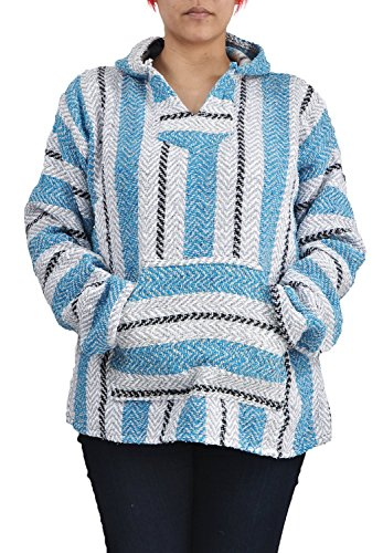 (Baja Joe Striped Woven Eco-Friendly Hoodie (Pastel Aqua, Large))