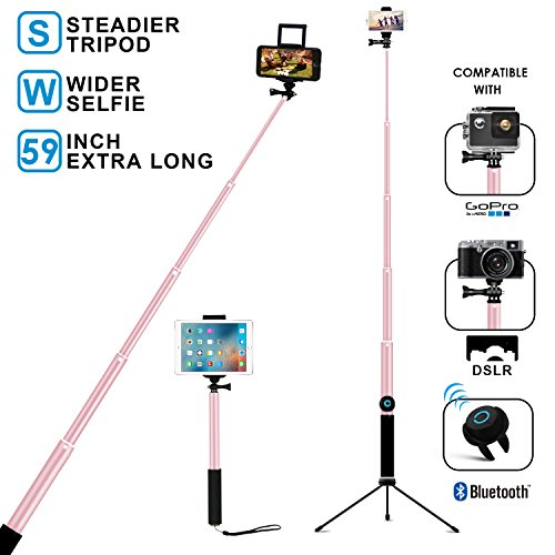 Bluetooth Selfie Stick with Tripod, Remote 59Inch MFW Extendable Monopod with Tripod Stand for iPhone X/8/7/6/Plus,iPad,Samsung S9 S7/S8, LG, Google Pixel Android,GoPro Cameras (Rose Gold)