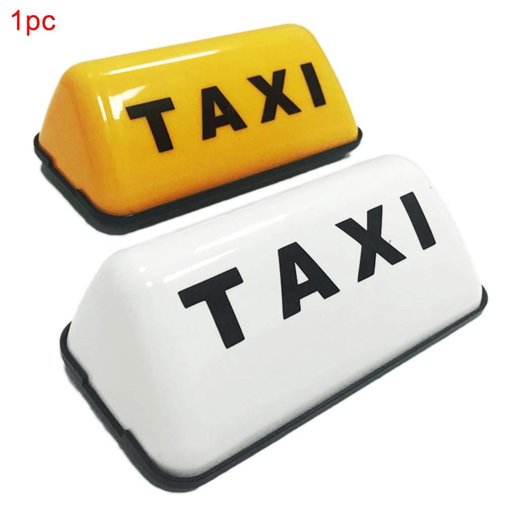 decoraci/ón de Letrero LED de Taxi Blanco//Amarillo de 23.5x7x5.5cm vrsupin0 Letrero Luminoso de Techo de Cabina de Taxi DC 12V