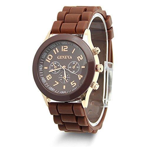 HeroNeo Classic Womens Girls Geneva Silicone Jelly Gel Quartz Analog Sports Wrist Watch (Coffee)